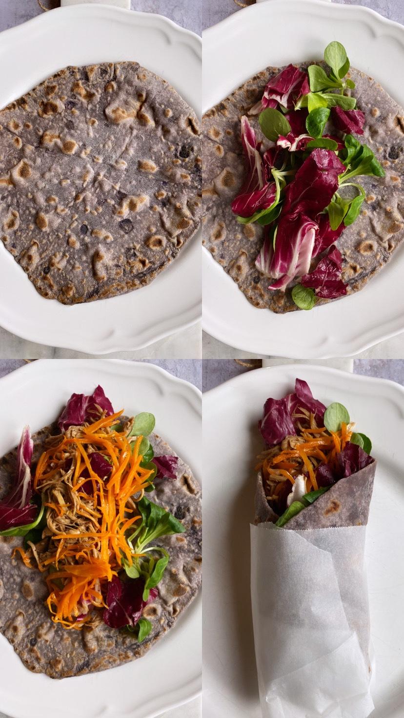 assemblaggio Adagiate al centro del pane azzimo l'insalata, il pollo, le carote saltate.