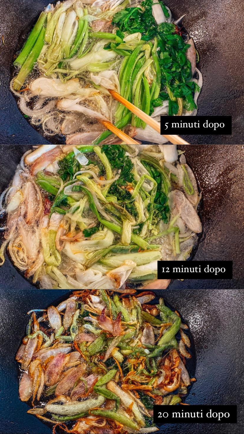Spengi il fuoco dopo 15 minuti e lascia gli ingredienti nell'olio per un'altri 5 minuti prima di separare l'olio dal resto degli ingredienti.