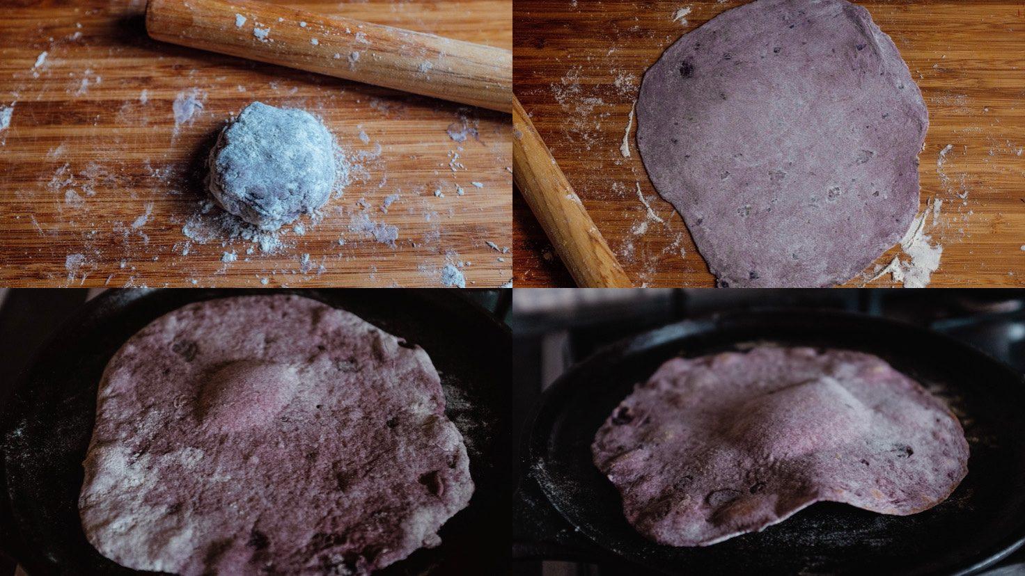 Scalda una padella piatta a media-bassa temperatura. Metti l'impasto arrotolato nella padella. Quando si formano le prime bollicine, continua a friggere per altri 20 - 30 secondi poi gira. Cuoci l'altro lato per altri 30 - 45 secondi.
