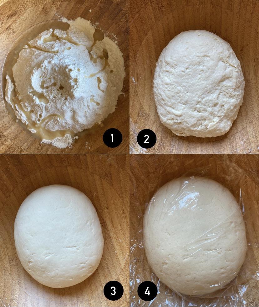 Copri l'impasto con pellicola e lascia riposare l'impasto per 10 minuti. Lavora l'impasto per 1 minuto fino a che non diventa liscia.