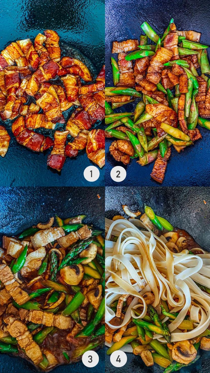 come preparare i spaghetti di riso saltato con verdure e carne