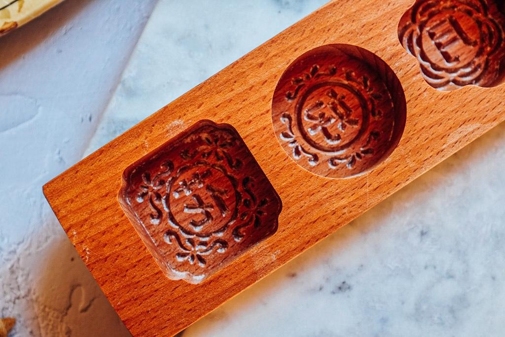 Stampi mooncake: utilizzo degli stampi in legno a quattro porzioni, ognuno accoglie un mooncake da 45 grammi